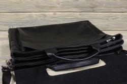 Портфель из мягкой кожи чёрный