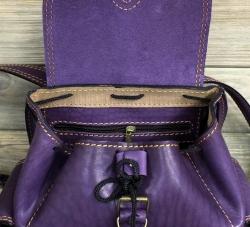 Рюкзак малый из жесткой кожи фиолетовый