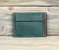 Зажим для денег с карманом для монет зелёный