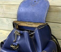 Рюкзак малый из жесткой кожи синий