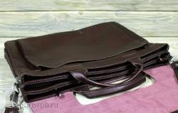 Портфель из мягкой кожи тёмно-коричневый