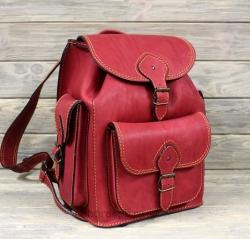 Рюкзак большой из жесткой кожи красный