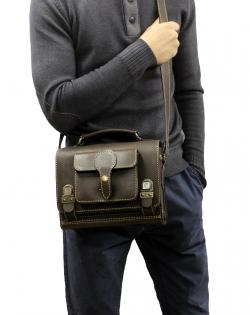Сумка-барсетка с карманом тёмно-коричневая