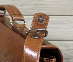 Портфель из мягкой кожи большой коричневый