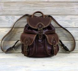 Рюкзак малый из мягкой кожи свекольный