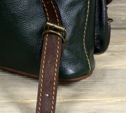 Рюкзак малый из мягкой кожи тёмно-зелёный