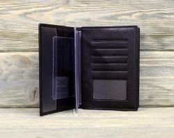 Обложка для паспорта и автодокументов тёмно-коричневая