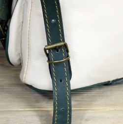 Рюкзак малый из мягкой кожи бело-зелёный