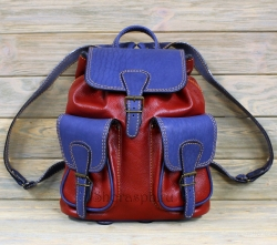 Рюкзак большой из мягкой кожи красно-синий