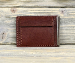 Зажим для денег с карманом для монет коричневый