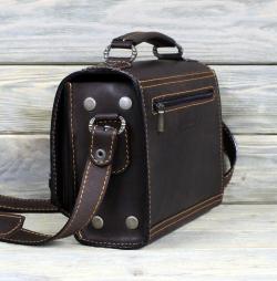 Сумка-барсетка тёмно-коричневая с узором