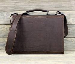 Сумка-портфель тёмно-коричневая